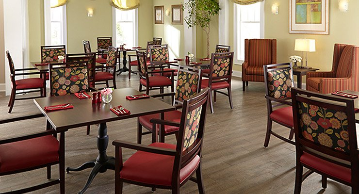 Senior living seating lobby dining activity guest room for Senior living dining room