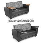 Interplay Series Lounge Sofa with Tablet Arms 822 Nickel with Black