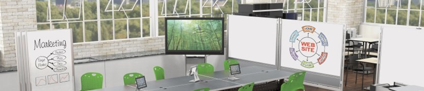 Mobile dry erase partitions and displays