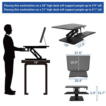 Sit-Stand Desktop Converter Flexispot F3MB F3MW Dimensions Bakagain