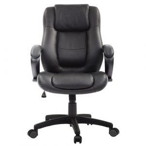 Pembroke Managers Leather Chair LE522 Black Leather Front