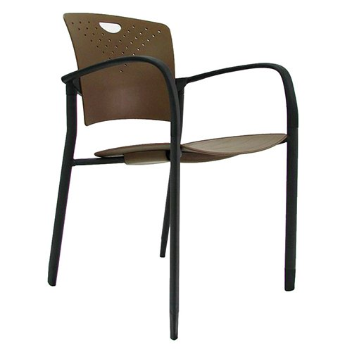 Staq Stacking Chair with Glides Coffee