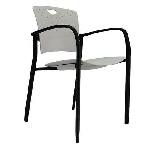 Staq Stacking Chair with Glides Gray