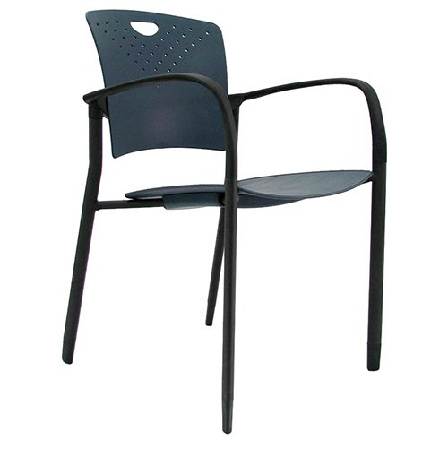 Staq Stacking Chair with Glides Navy