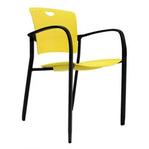 Staq Stacking Chair with Glides Yellow