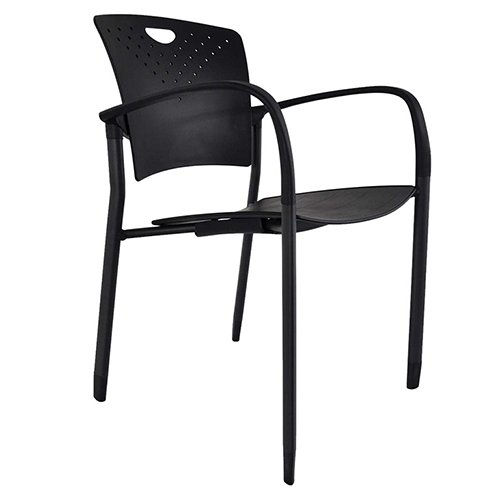 Staq Stacking Chair with Glides Black
