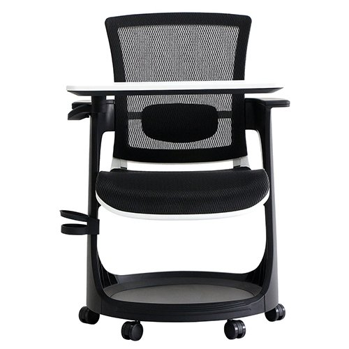 Eduskate Mobile Tablet Chair Black Mesh White Frame Front