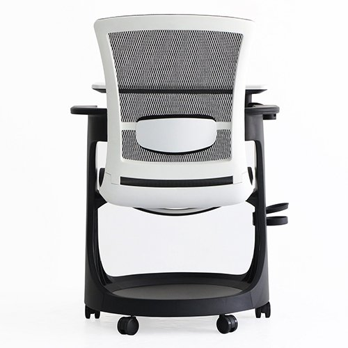 Eduskate Mobile Tablet Chair Black Mesh White Frame Back