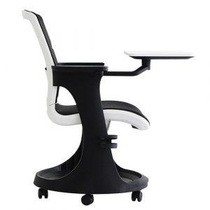 Eduskate Mobile Tablet Chair Black Mesh White Frame Side Eurotech