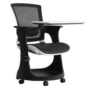 Eduskate Mobile Tablet Chair Black Mesh White Frame Eurotech