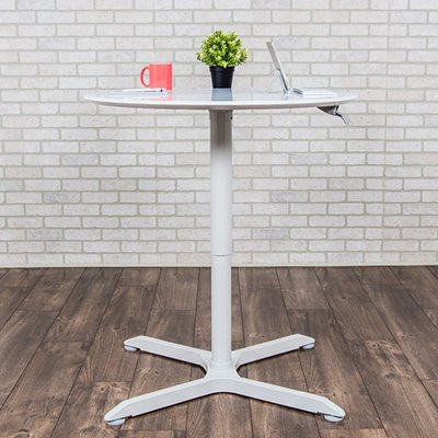 Luxor Pneumatic Height Adjustable Round Tables Standing Height