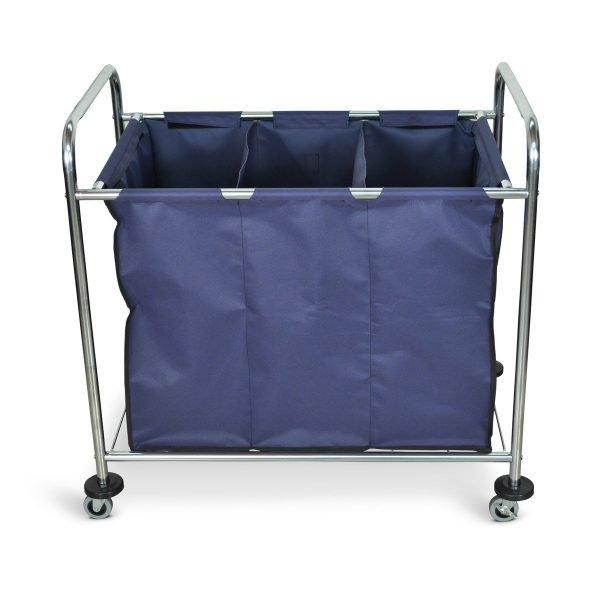 HL15 Industrial Laundry Cart 3 Compartment Divided Canvas Bag Front