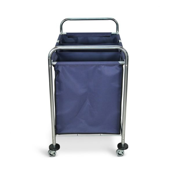 HL15 Industrial Laundry Cart Three Compartment Divided Canvas Bag Side