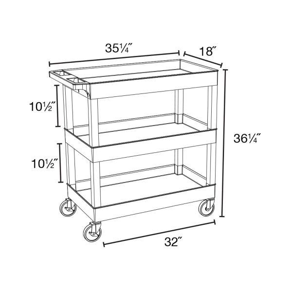 2 shelf utility tub dimensions