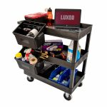 Luxor 2 shelf utility cart shown with outrigger bins