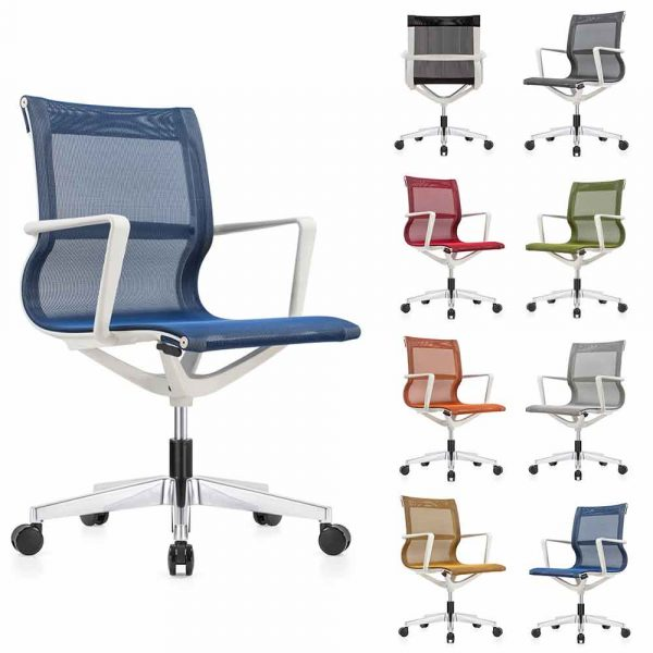 Kinetic Color Mesh Chairs with white Frame