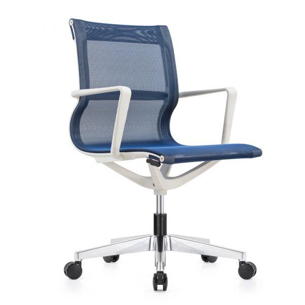Kenetic White Frame Blue Mesh Chair