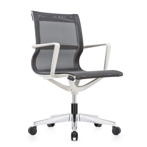 Kenetic White Frame Gray Mesh Chair