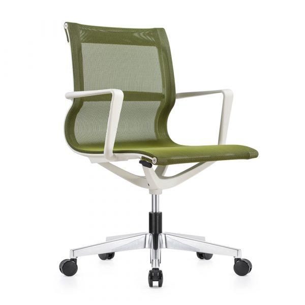 Kenetic White Frame Green Mesh Chair