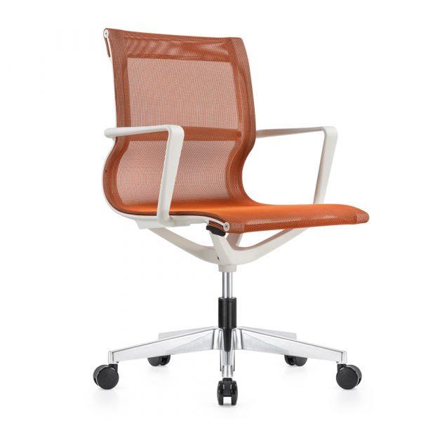 Kenetic White Frame Orange Mesh Chair