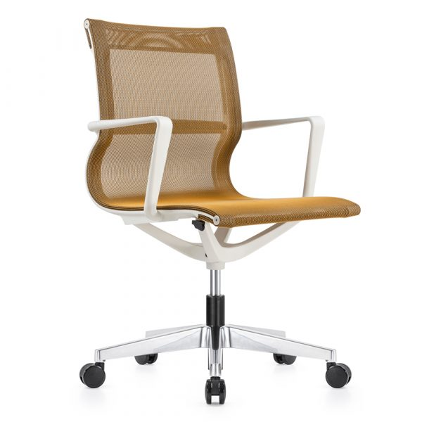 Kenetic White Frame Yellow Mesh Chair