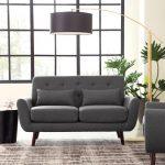 Mid Century Modern Sofa Dark Gray Room Setting