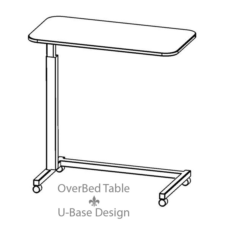 Adjustable Height OverBed Table U Base