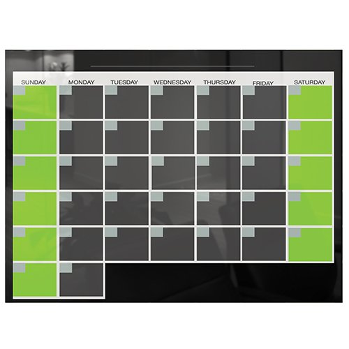 Black Glass Dry Erase Monthly Calendar