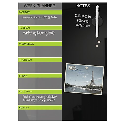 Magnetic Glass Weekly Planner Markerboard Calendar Black