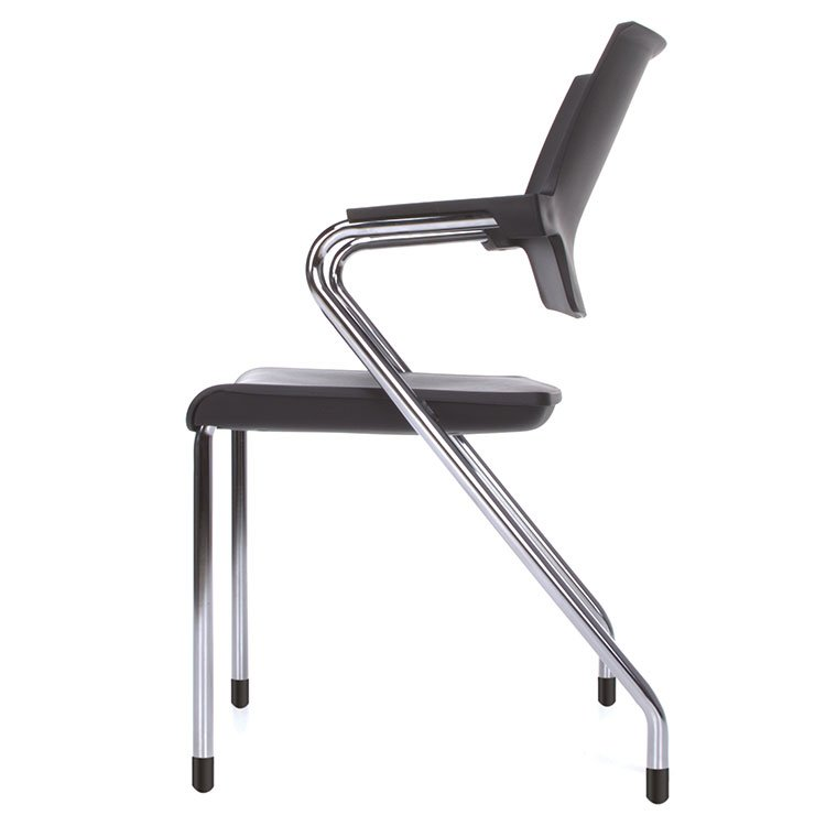 Smart Series Stacking Chairs Black Chrome Side 304-P