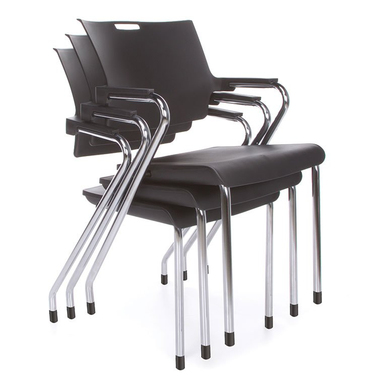 Smart Series Stacking Chairs Black Chrome 304-P Stacking