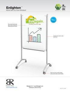 Enlighten Mobile Glass Markerboard New from Bakagain by Mooreco - Balt
