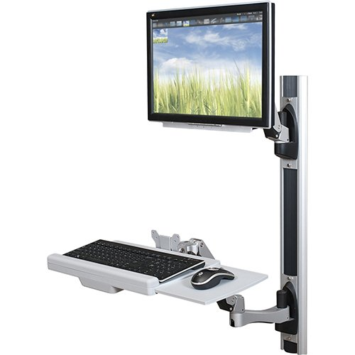 HG Wall Mount Workstation Monitor Mount and Keyboard Mount on sliding Base unit