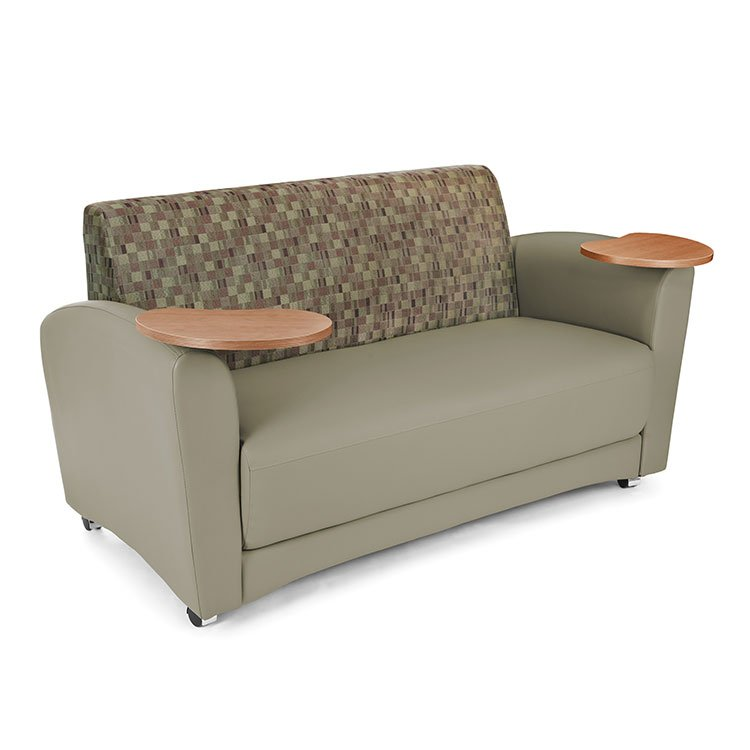 Interplay Series Lounge Sofa with Tablet Arm Plum with Taupe 822