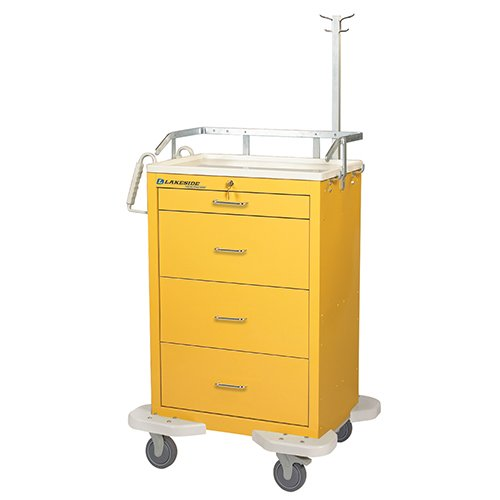 4 Drawer Medication Cart Yellow C-430-K-2Y
