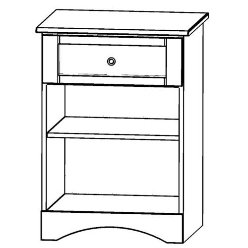 Sedona Bedside Cabinet, One Drawer and One Shelf