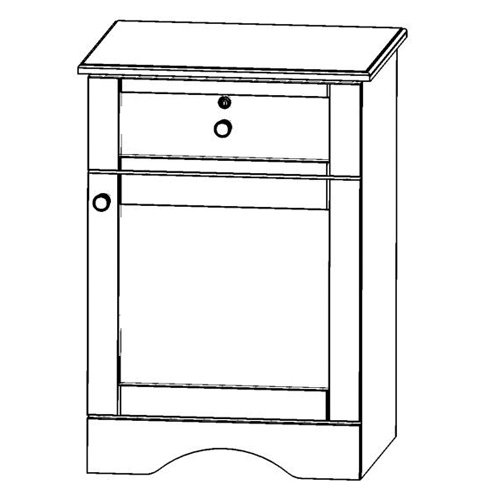 Sedona Bedside Cabinet with one drawer and one door with right side hinge.