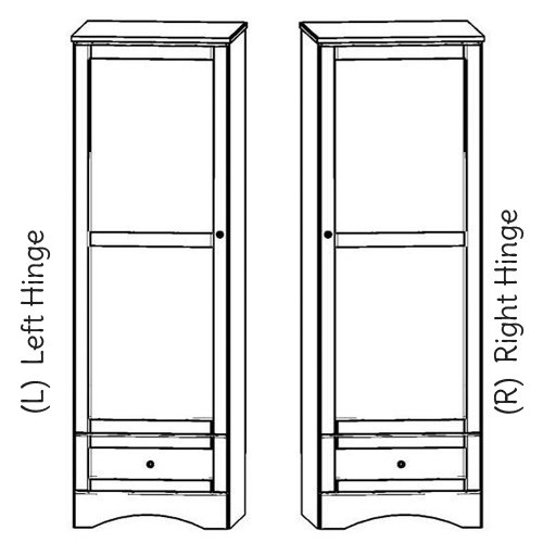 """Sedona 24""""w Wardrobe with one drawer and single door. Choose Right or Left hinge."""