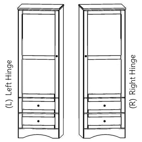 """Sedona 24""""w Wardrobe with 2 drawers and Single door. Choose Right or Left hinge."""