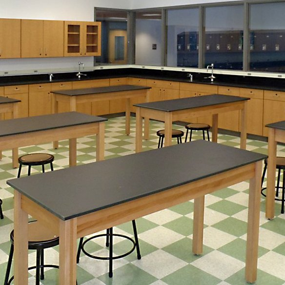 Wood base science tables in science lab