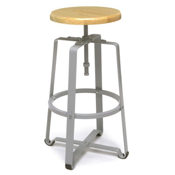 Endure Series Adjustable Height Stools Tall Silver Base Maple Seat