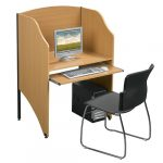Study Carrel with Keyboard Pull out
