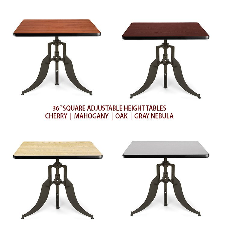 Adjustable Height Dining Tables 36″ Square