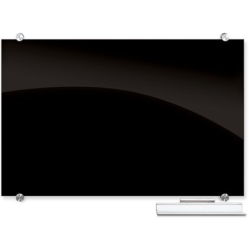 Visionary Black Glass Magnetic Markerboard with Tray