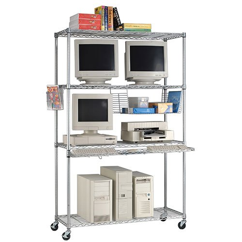"Lan Station Carts 18"" x 48"" Silver Loaded"